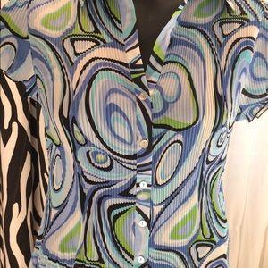 Nicola Top Skirt Blue Abstract Swirls Adorable